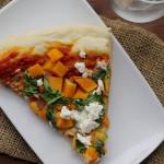 butternut squash, spinach and feta pizza
