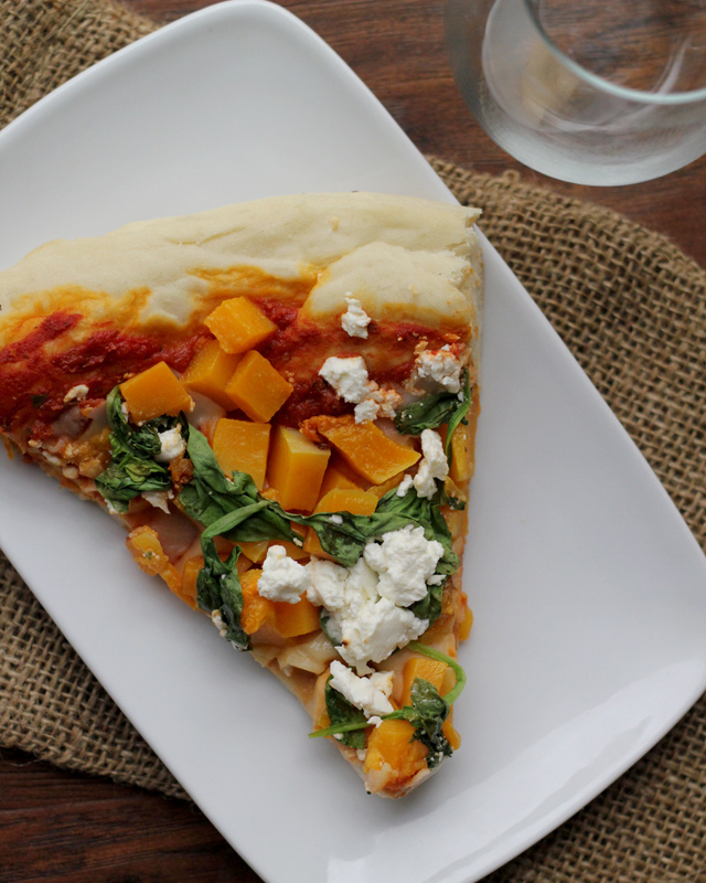 butternut squash, spinach and feta pizza