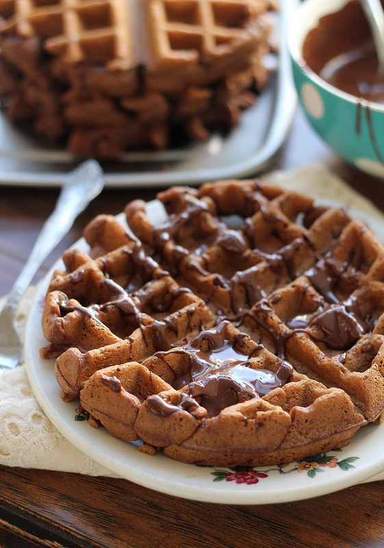 chocolate stout waffles with chocolate-peanut butter syrup