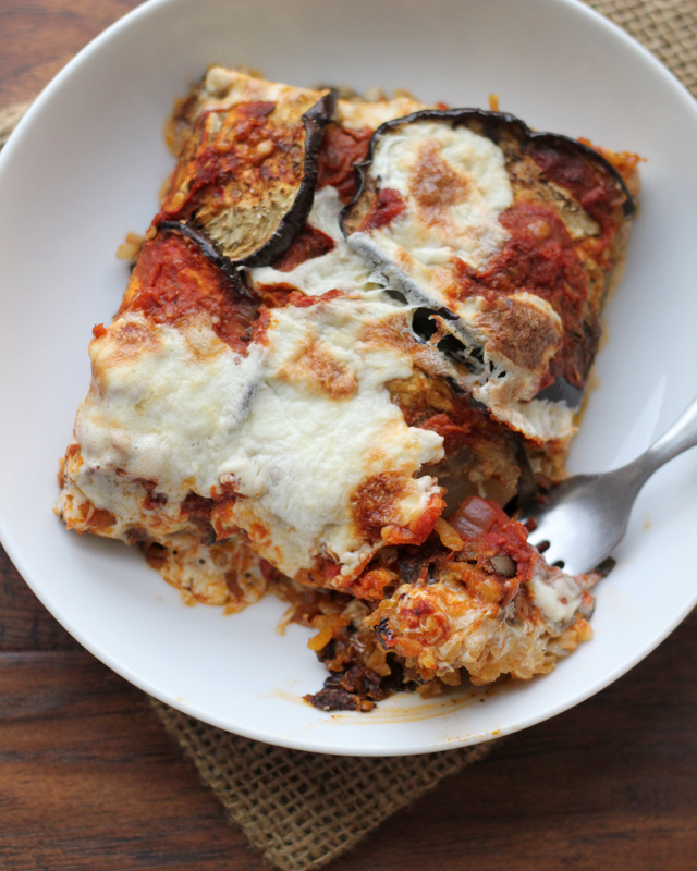 eggplant mozzarella and saffron rice bake