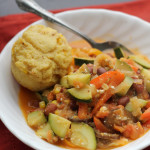 late summer vegetable stew with brown butter cornbread