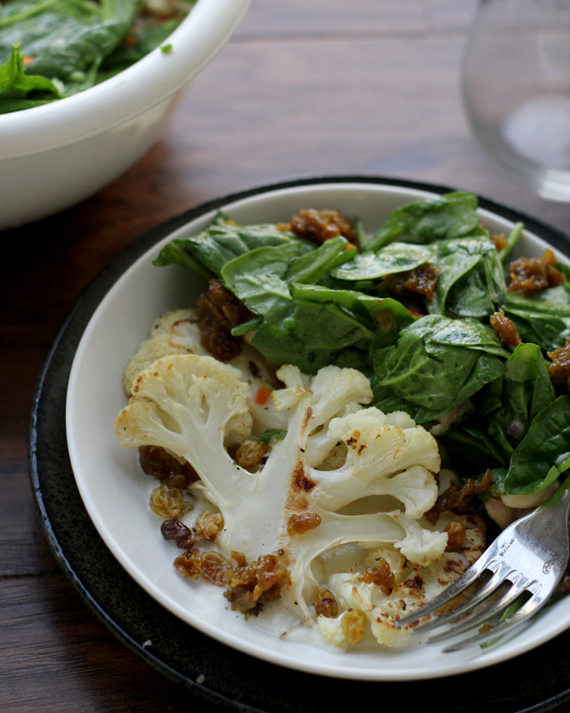 roasted cauliflower with white beans and curried raisin jam