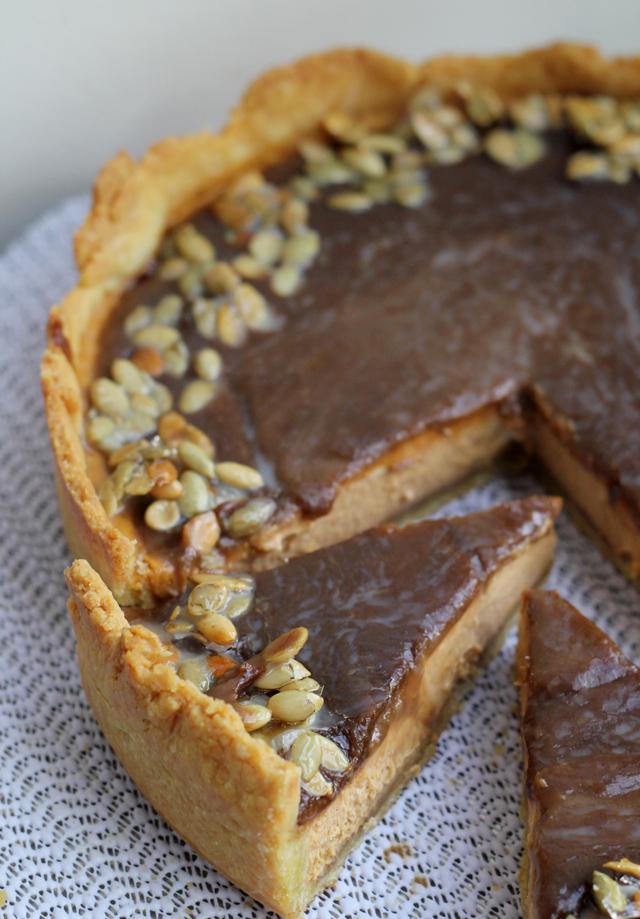 bourbon-pumpkin caramel tart