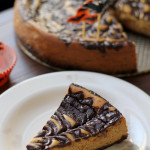pumpkin cheesecake with chocolate-stout ganache swirl