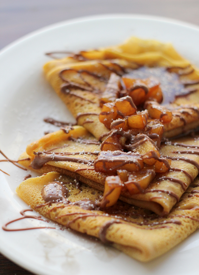 pumpkin crepes with beer and cinnamon apples and a chocolate drizzle