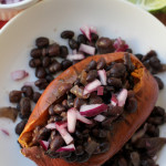 Slow Cooker Black Bean Ragout on Roasted Sweet Potatoes #reciperedux