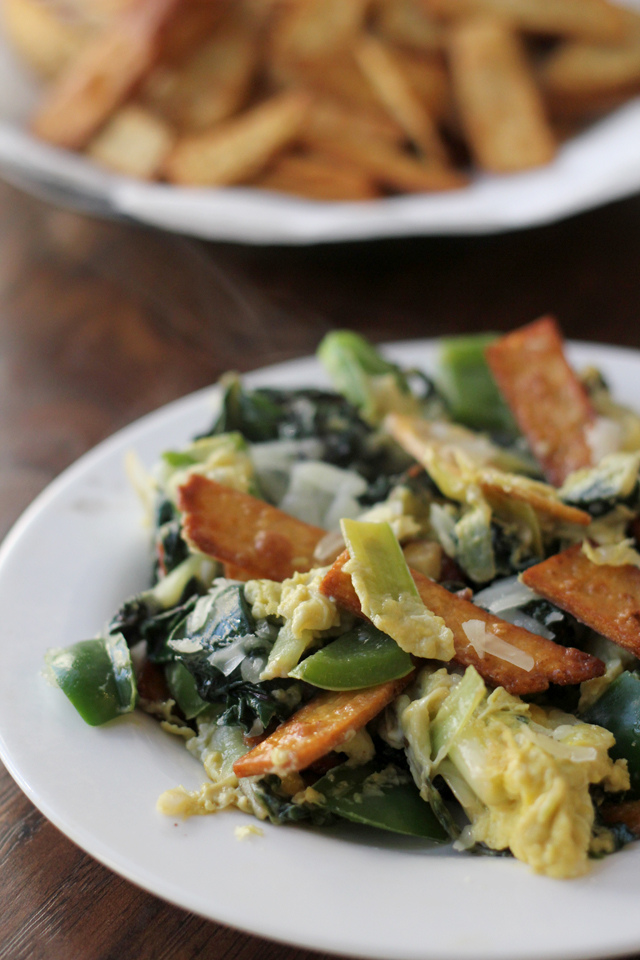 Swiss Chard and Leek Migas