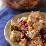 Roasted Root Vegetable Panzanella with Roasted Red Pepper Pomegranate Vinaigrette