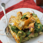 Bagel, Broccoli, and Spinach Strata with Cooper Deli Cheese