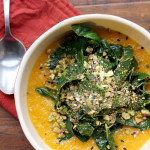 Carrot Soup with Tangled Collard Greens and Dukkah