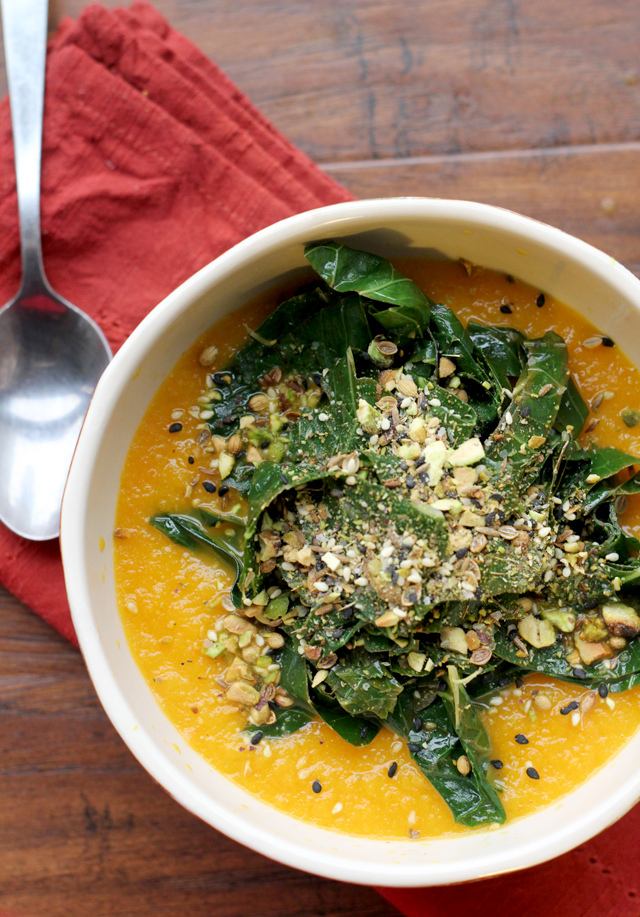 carrot soup with tangled collard greens and dukkah from Eats Well With Others