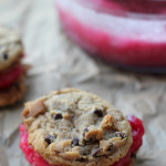 cranberry royale sorbet chocolate chip cookie sandwiches from Eats Well With Others