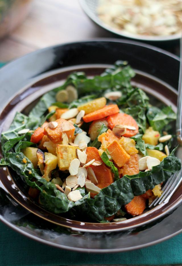 miso-harissa roasted carrot, squash and two-potato salad
