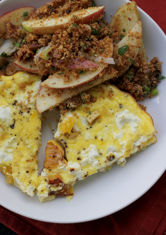roasted delicata squash and goat cheese fritatta with an apple salad with walnuts and lime from Eats Well With Others