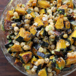 roasted kabocha squash and chickpea salad with tahini, scallions and black sesame seeds from Eats Well With Others