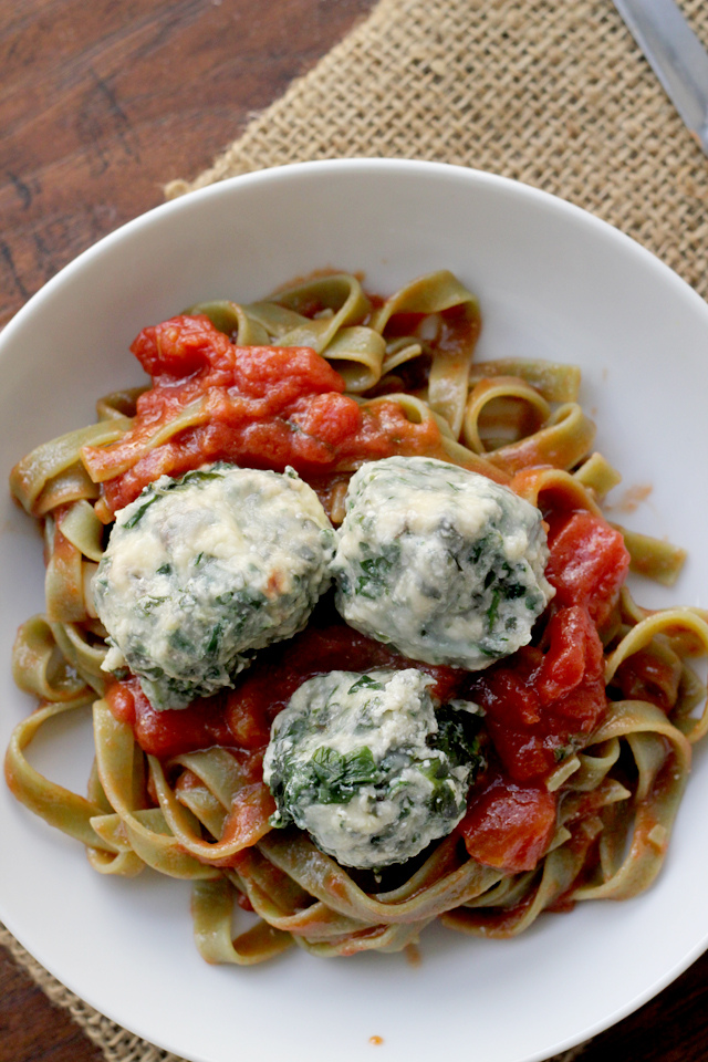 spinach and swiss chard ravioli nudi over simple tomato sauce from Eats Well With Others