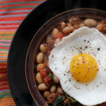 spinach with yellow-eyed peas and fried eggs from Eats Well With Others