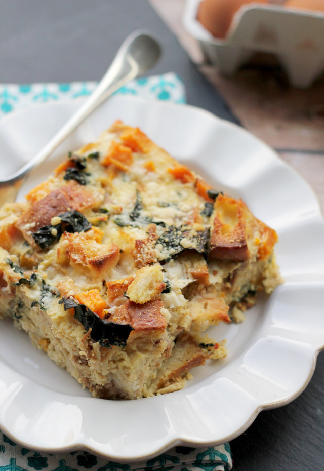 butternut squash and kale strata