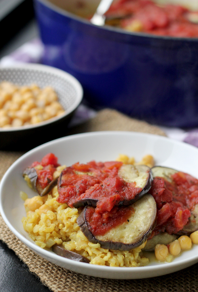 oven-baked brown rice and eggplant casserole