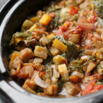 Slow Cooker Winter Ratatouille with Goat Cheese Polenta #GIVEAWAY
