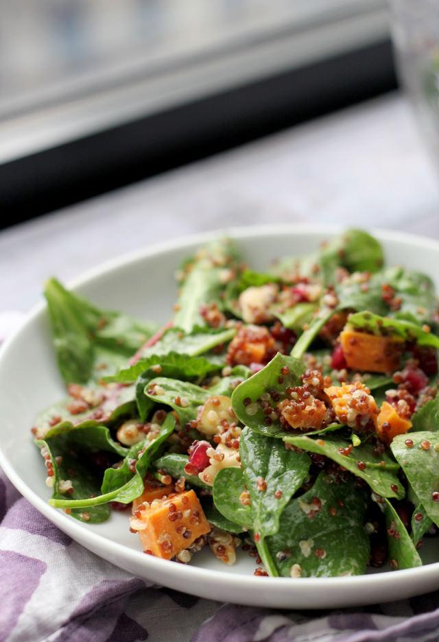 crispy quinoa and power greens salad with smoky meyer lemon vinaigrette