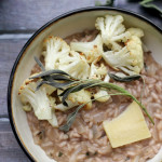 roasted cauliflower, sage, and almond risotto