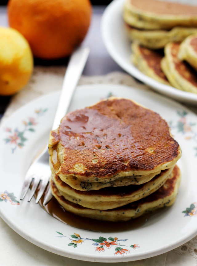 blood orange greek yogurt poppy seed pancakes