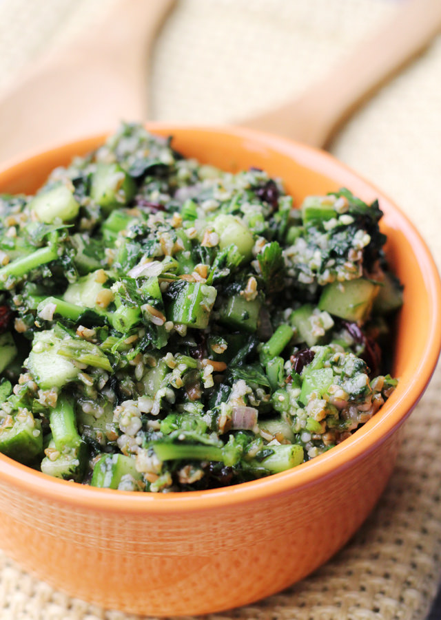 kale tabbouleh with sour cherries