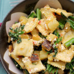 ravioli salad with broccolini, sweet potatoes, feta and harissa