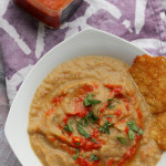 roasted eggplant bisque with harissa and parmesan crisps