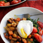 two-potato hash with poached eggs and greens