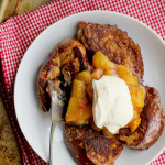 french toast with rhubarb mango compote and creme fraiche