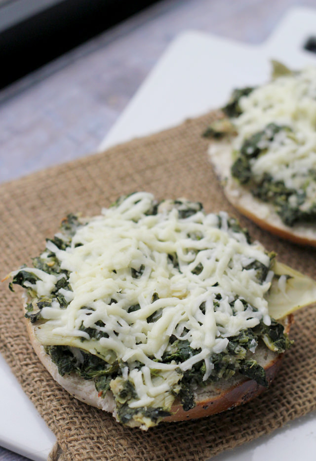 open-faced spinach, artichoke, and white bean grilled cheese