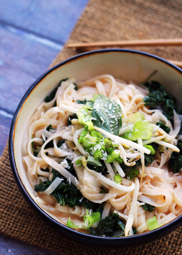 spicy coconut rice noodles with kale and basil