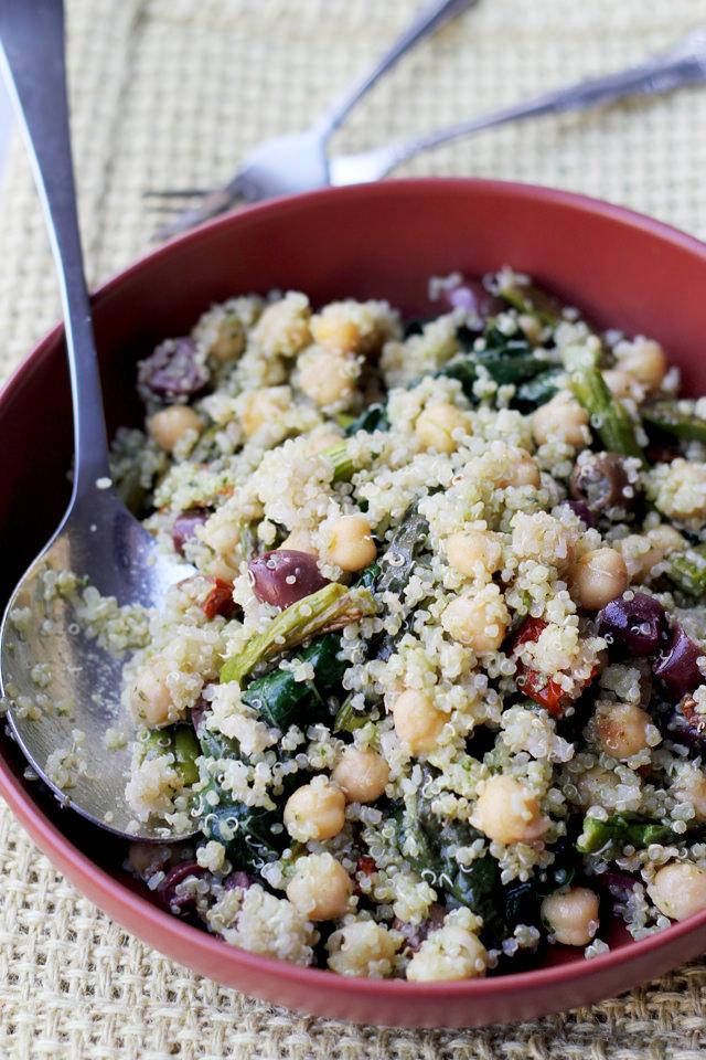spring vegetable quinoa salad with lemon basil dressing