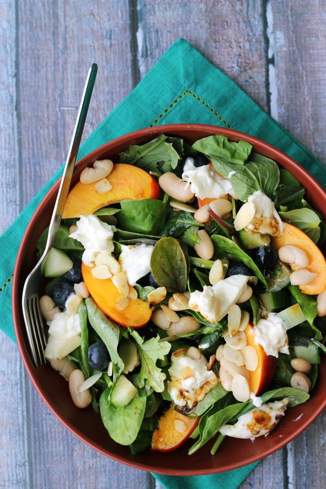 blueberry, nectarine, and burrata salad with maple balsamic vinaigrette