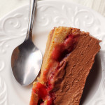 chocolate mousse-covered strawberry pie