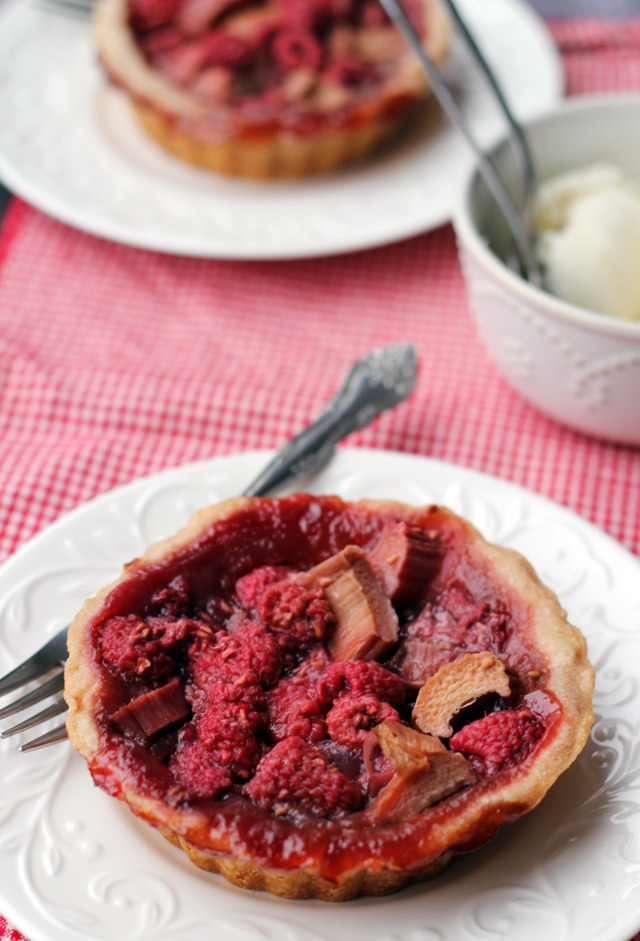 mini raspberry-rhubarb pies
