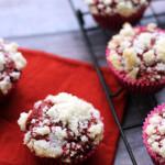 red velvet crumb muffins