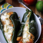 roasted nectarine, jalapeno, and brie stuffed poblanos