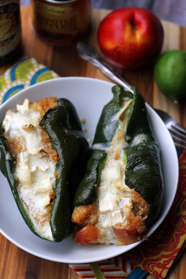 Roasted Nectarine, Jalapeno, and Brie Stuffed Poblanos | Joanne Eats ...