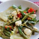 Roasted String Bean, Tomato, Basil, and Mozzarella Ravioli Salad
