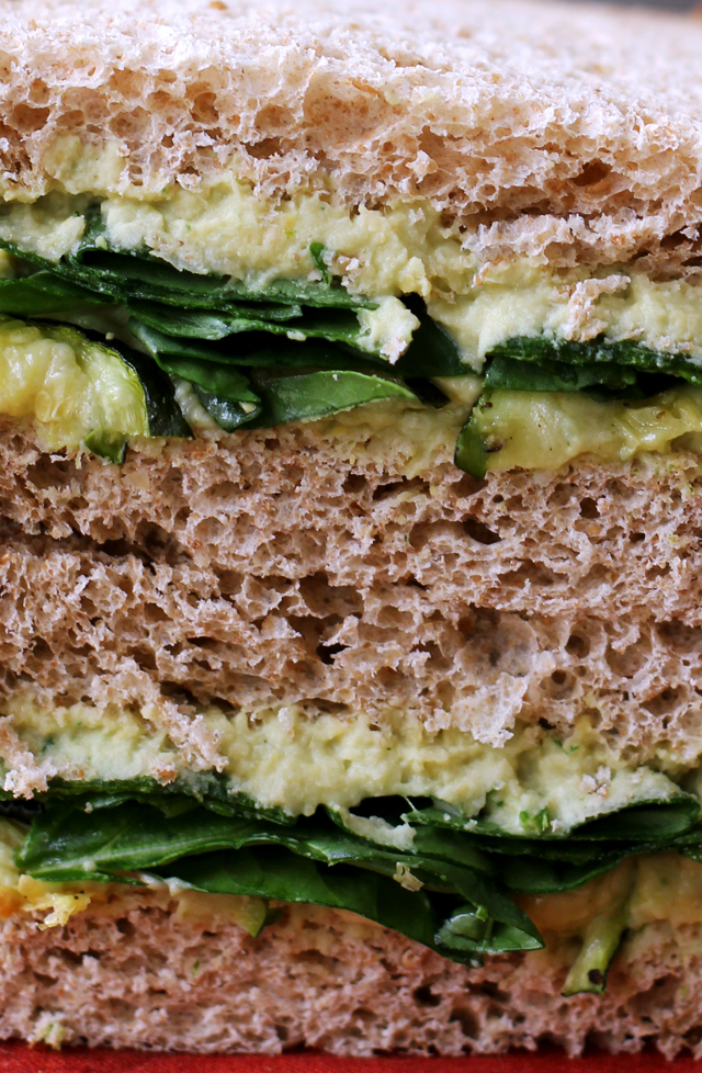 roasted zucchini, garlic and basil hummus sandwiches