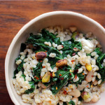 barley salad with kale, pistachios and feta
