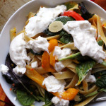linguine with burrata, greens and sweet pepper sauce