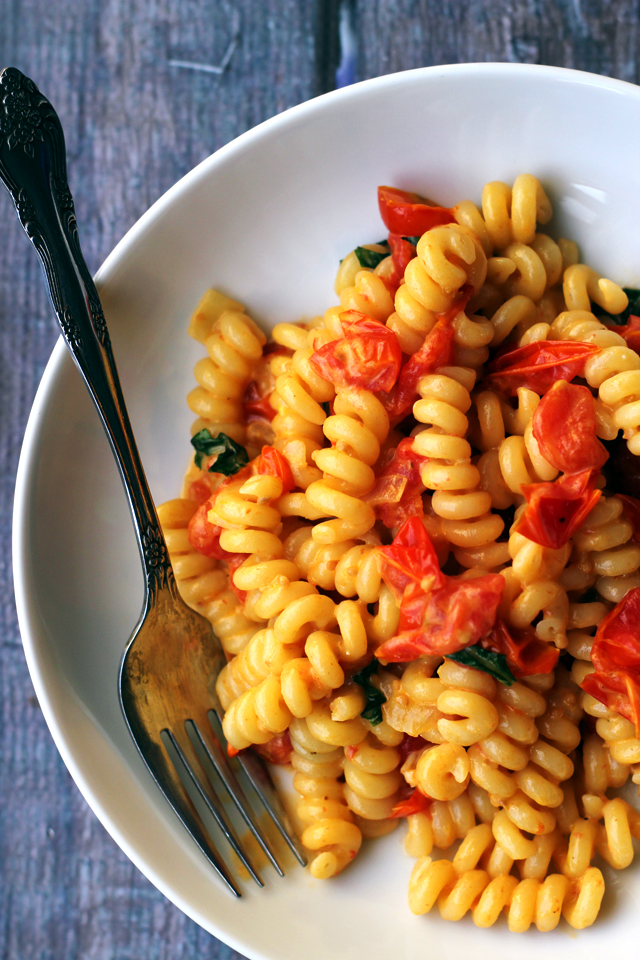 pasta with slow-roasted cherry tomatoes and cream