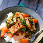 red curry tofu with coconut chile carrots and bok choy