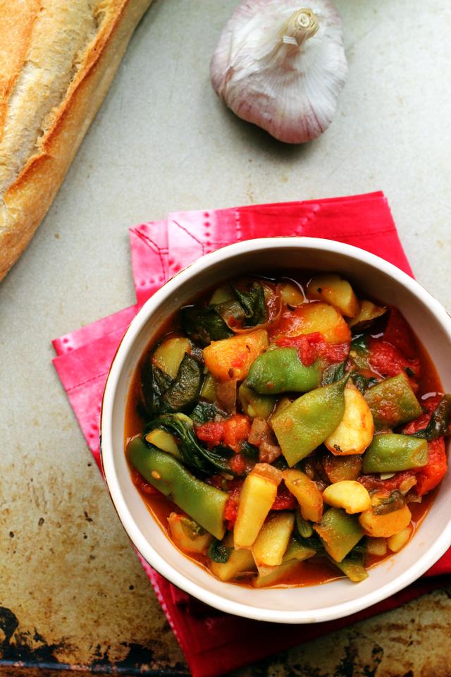 calabrese romano bean and potato ragout