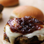 eggplant burgers with honey beer-glazed caramelized shallots