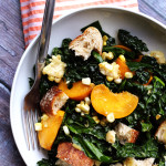 kale salad with peaches, corn, and honey-basil vinaigrette